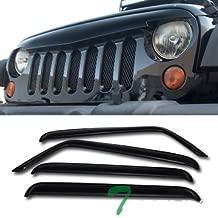 Topline Autopart Glossy Black Angry Bird Vertical Mesh Front Hood Bumper Grill Grille ABS + Window Visors For 07-18 Jeep Wrangler JK 4 Door