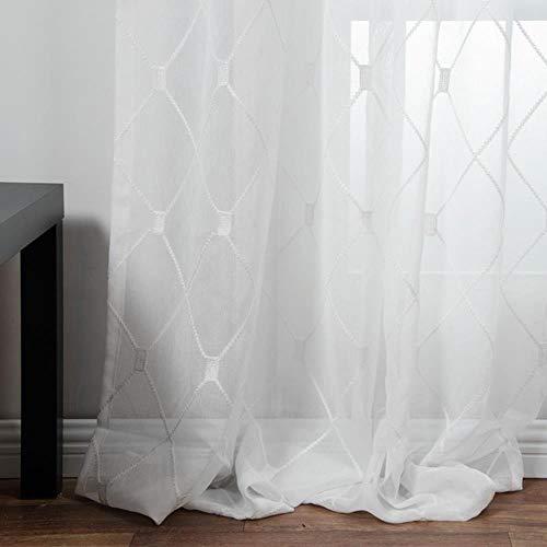 Geometrische geborduurde vitrages Tule raamgordijnen voor keuken Woonkamer Slaapkamer Witte voile voor café, wit, op maat gemaakt
