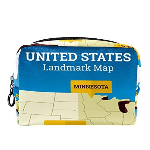 Vintage American Landmark Mapa Estatua de la Libertad 18,5 x 7,5 x 13 cm Estuche de maquillaje cosmético bolsa de belleza para mujeres Tote bolsa de cosméticos de mano