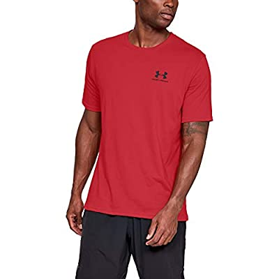 Under Armour Men's Sportstyle Left Chest Short Sleeve T-shirt , Red (600)/Black , Large