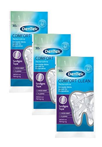 Dentek Comfort Clean Zahnseide Sticks, speziell für Backenzähne - Zahnreinigung der hinteren Zahnzwischenräume - Minzgeschmack - Fluorid - Zahnstocher, 3 x 30 Stück