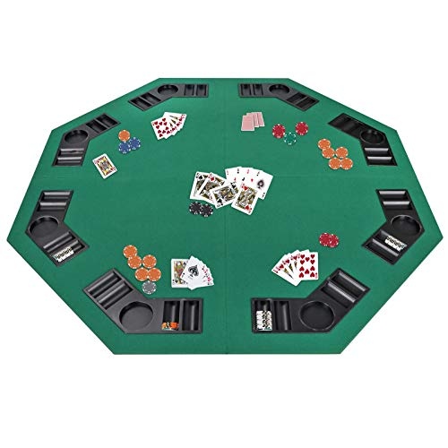 """Smartxchoices 48"""" Folding Poker Table Top Octagon Layout - 8 Players Casino Games Texas Hold 'em, Blackjack, Gambling Poker Mat Cover with Cup Holders Carrying Case Family Game"""