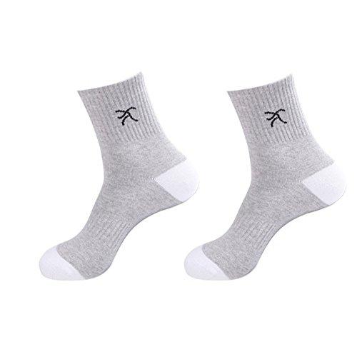 Les Hommes d'homme Courir Chaussettes Casual 2 Paires Blanc Gris
