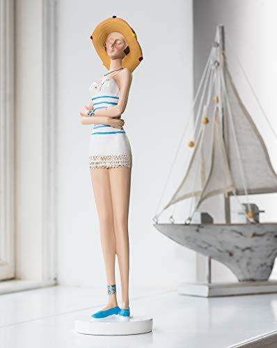 Wohnideen Kupke Deko Badefigur Fabienne 35x9cm schlank elegant stehend im verzierten blau weißen Kleid und Sonnenhut Retro Stil 50er 60er Jahre