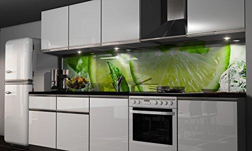 More Design Küchenrückwand-Folie Grüne Lemonade Klebefolie Spritzschutz Küche Fliesenspiegel Möbel Rückwand selbstklebend | mehrere Größen | DIY