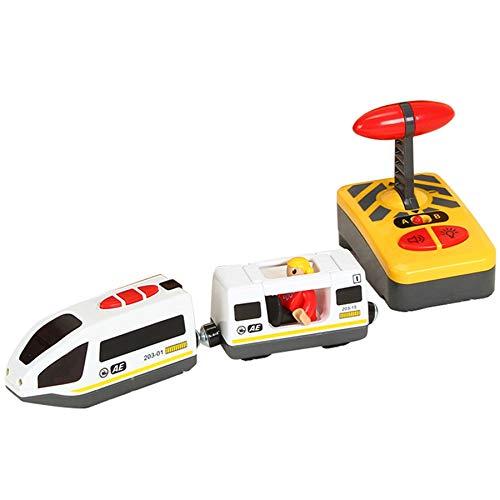 TOOGOO Tren EléCtrico de Control Remoto Compatible con el Juguete de Madera de la VíA del Tren