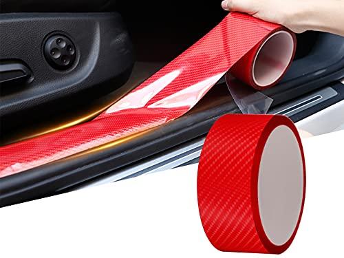 Protector Puerta Coche de Fibra de Carbono Universal, Protector Parachoques Coche Flexible Autoadhesivo, Protector Spoiler para Coche Pegatinas Coche Tuning Proteccion (3cmx5m, Rojo)