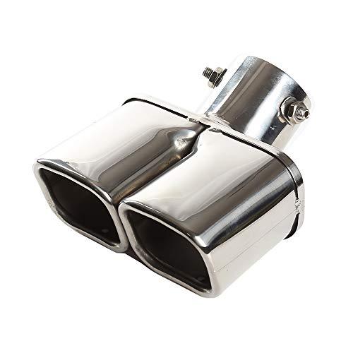 63 mm Puntas de Escape Silenciador de Acero Inoxidable Tubo de Escape Salida doble Cuadrado Boca Tubo de Extremo de plata