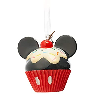 Cupcake Ornament decorated like Mickey Mouse with glossy black frosting and mouse ears