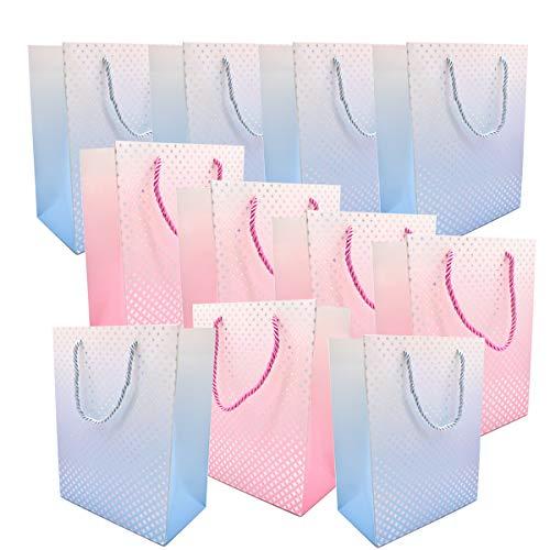 Liwein Geschenktüten mit Griffe,Papier Geschenktaschen Bronzing Papiertaschen Partytüten für Hochzeitstag weihnachten Geschenk Paket(12 Stück)