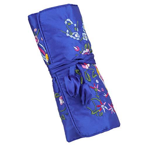 mookaitedcor Garten Design Gestickte Schmuckrolle mit Schöne Blumen, Tasche Organizer für Ohrringe Halsketten Armbänder Uhr,Blau