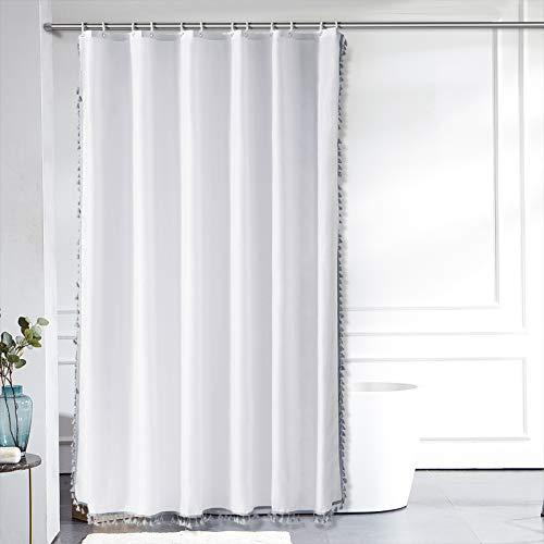 Furlinic Duschvorhang Überlänge 200x240 in Weiß Badvorhang für Badewanne und Bad Wasserdicht Waschbar Anti-shcimmel mit Grauen Quaster mit 12 Duschringen.