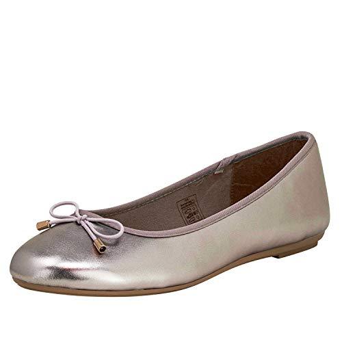 Fitters Footwear That Fits Damen Ballerina Claudia Lederimitat Metallic mit Schleife Übergröße (45 EU, Pewter)