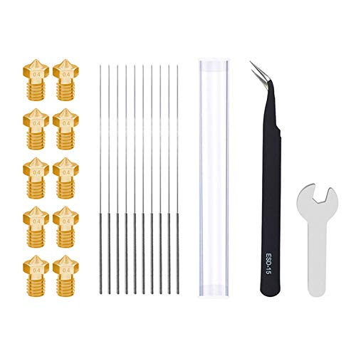 qianber 3D Printer Accessories MK8/V6 Nozzles and Steel Needles and Tweezers and Wrench 3d Printer Cleaning Tools