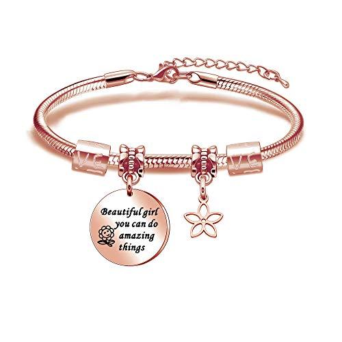 Meagoex Exquisita joyería chapado en oro rosa con forma redonda grabada, hermosa chica que puedes hacer cosas increíbles, pulsera de cadena inspiradora para amigos, hermanas o hijas