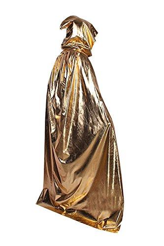 Halloween Umhang Cape mit Kapuze Karneval Fasching Kostüm Unisex Gold