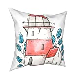SSOIU Cartoon Lighthouse Pillow Covers 20x20,Red Yellow Lighthouse Tiny House Some Blue Plants Polyester Throw Pillow Cases Square Cushion Covers for Sofa Chair Car Bed