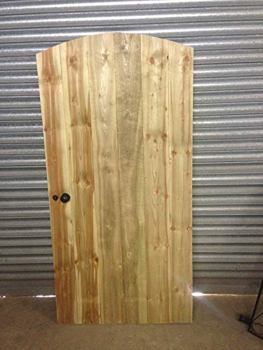 Wooden Garden Luxury Arched TOP Entrance GATE Handle and Key Lock Heavy Duty Pressure Treated Made to Measure Bespoke Gates (6FT HIGH X 2FT 9INCH Wide)