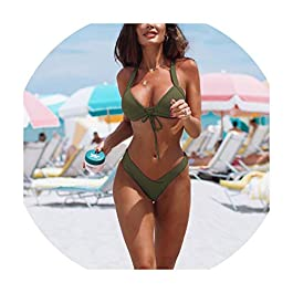 FJ-Direct Women Swimsuit Bikini Push Up Solid Thong Mini Bikini...