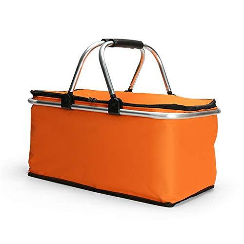 HLVU Mittagessen Taschen Folding Picknick-Korb Tragbarer Insulated Camping Cooler Outdoor BBQ Lebensmittel Organizer Mittagessen Tragetasche für Studierende (Color : Orange, Size : 46X28X24cm)