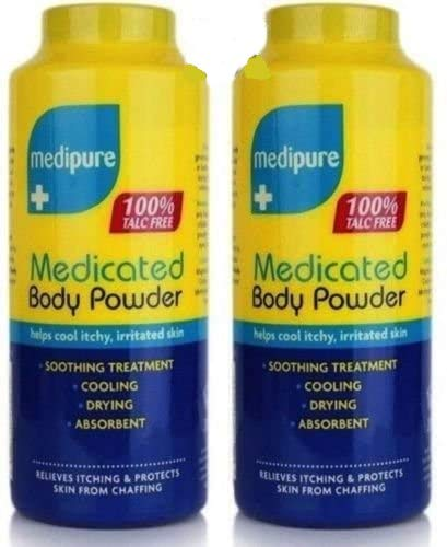 DPNY 2 MEDIPURE MEDICATED BODY POWDER 100% TALC FREE HELPS COOL ITCHY, IRRITATED SKIN