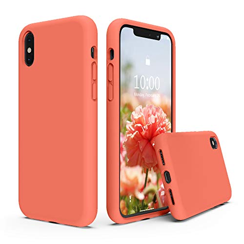 SURPHY Silicone Case Compatible with iPhone Xs Case iPhone X Case 5.8 inches, Liquid Silicone Phone Case (with Microfiber Lining) for iPhone Xs 2018 / iPhone X 2017 (Nectarine)