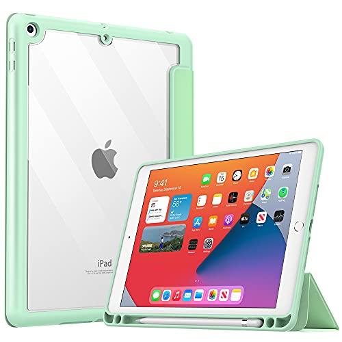 MoKo Funda para Nuevo iPad 8ª Generación 2020 iPad 7ª Gen 10.2' 2019/iPad 10.2, Protectora de TPU + PC con Soporte de Apple Pencil con Función de Auto Estela/Sueño para iPad 10.2 Tableta, Verde