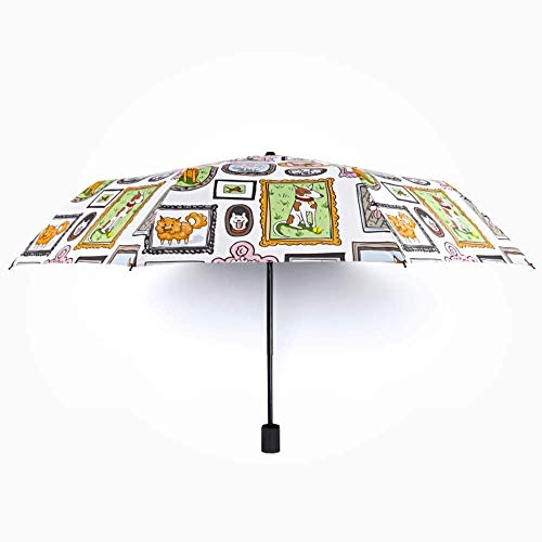 Paraguas Paraguas Protector Solar de plástico Negro sombrilla de protección UV Femenina Paraguas Plegable Paraguas de Doble Uso animación de Cachorro de Dibujos Animados