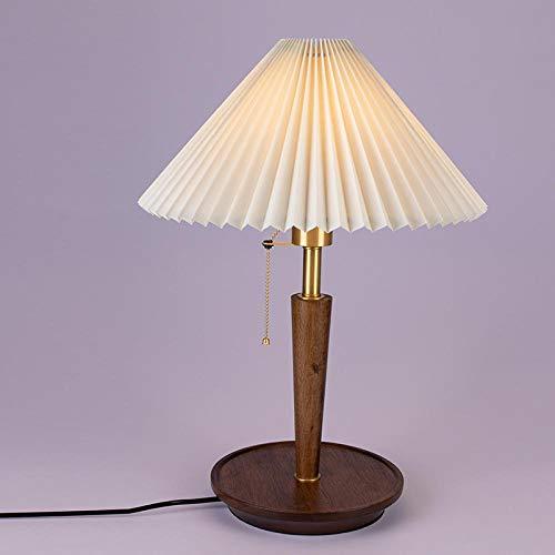 Lámpara de mesa de madera retro lámpara de pie de estilo chica dormitorio salón estudio lámpara de mesa americana de lujo de madera maciza de cobre nórdico claro
