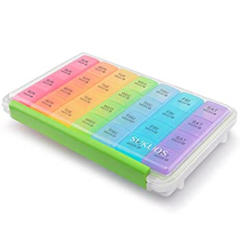 Monthly Pill Organizer 28 Day Case Sukuos Moisture-Resistant Large 4 Week Month Pill Cases with Dust-Proof Box for Pills/Vitamin/Fish Oil/Supplements