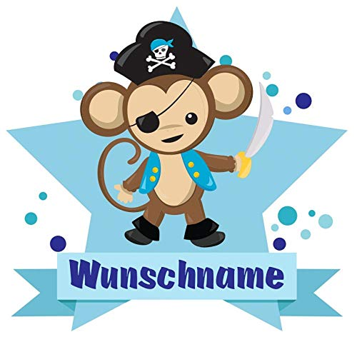 Samunshi® Piraten AFFE Wandtattoo Türschild mit Name personalisierbar Kinderzimmer Türaufkleber Baby Wandaufkleber in 9 Größen (25x22cm Mehrfarbig)