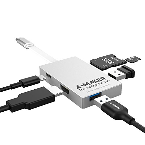 USB C Hub, A-Maker [6-in-1] Type-C Hub USB-C 3.1 to HDMI Adapter 4K+USB 3.0+SD/TF Card Reader for MacBook Pro/Google Pixel and More Multi-Port Charging & Connecting Thunderbolt Adapter (Silver)