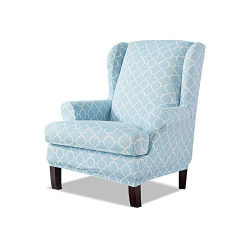VanderHOME Funda de Sillón Orejero Elástica Estampado, Fundas de sillón con Orejas Fundas de sillón reclinable Relax Fundas de Silla elástica con Cojin Separado Protector de Muebles Azul
