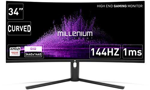 """Millenium MD34PRO - Monitor curvo gaming de 34"""" QHD (3440x1440, 144 Hz, 1ms, VA, QLED, 350cd/m2, HDR400, 21:9, 2x HDMI, 2x display port) Negro"""