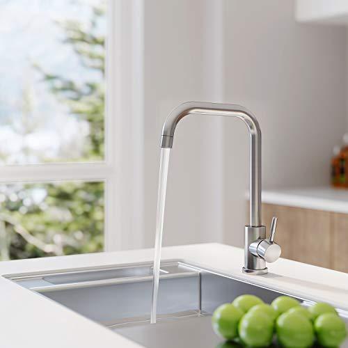 Grifo de cocina giratorio 360 °, grifo de cocina, agua fría y caliente disponible, acero inoxidable 304, conexiones G3 / 8 '', adecuado para grifo de fregadero y grifo de lavabo