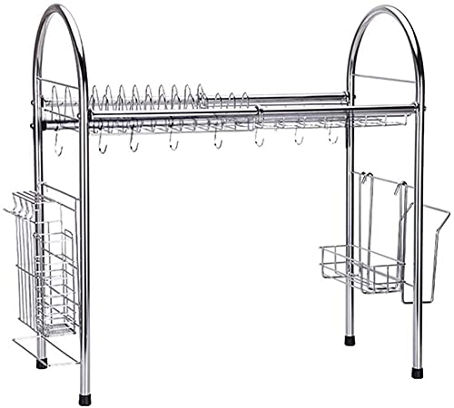 Organizador de platos, estante de cocina, estante de drenaje, estante de cocina, estante de almacenamiento, color blanco C