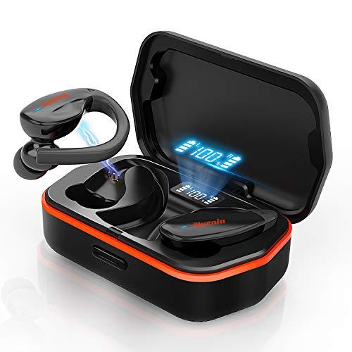 ワイヤレス イヤホン 高音質 bluetooth イヤホン スポーツ 耳掛け Hi-Fi 落ちない Bluenin ブルートゥース イヤホン Bluetooth5.0+EDR搭載 IPX4防水 音量調整可 マイク内蔵 ハンズフリー通話 WEB会議/テレワー