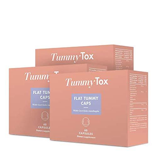 TummyTox Flat Tummy Caps - Der stärkste Appetitzügler mit Garcinia Cambogia und 60% HCA - 180 (3x60) Hochdosiert Kapseln ausreichend für 90 Tage Schneller zu schlanker Figur
