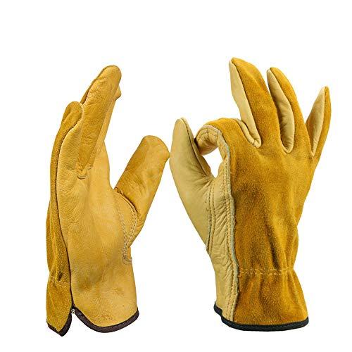 YYZZ Lederarbeitshandschuhe Verstellbarer Handgelenk Robuster Gartenhandschuh aus Rindsleder für Männer und Frauen 1 Paar (Gold, Mittel)-EIN_L.