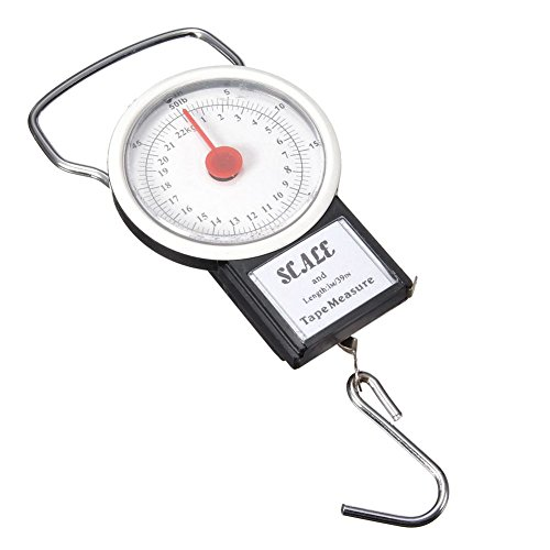 SODIAL Portable Luggage Travel Scale Hanging Suitcase Hook 22kg 50lb Measuring Tape