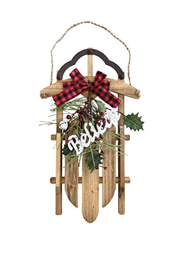 Christmas Sleigh Wall Décor Rustic Holiday Sled Decoration for Mantel, Door, Bookshelf – Artisan Wood Decorative Indoor Wall Hanging for Home or Office, by Clovers Garden