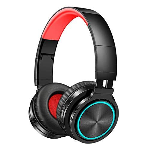 Gazechimp Auriculares estéreo con conexión inalámbrica Bluetooth para la Cabeza Auriculares Plegables Luminosos para Juegos con micrófono - Negro Rojo
