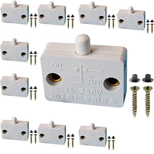 VISSQH 10 Stück Schrank Schalter Kontaktschalter für Möbeltür, Truhenschalter Schnappschalter 1A 250V Ein/Aus Einschalter Push zum Brechen Elektrischer Mortice Switch(Weiß)
