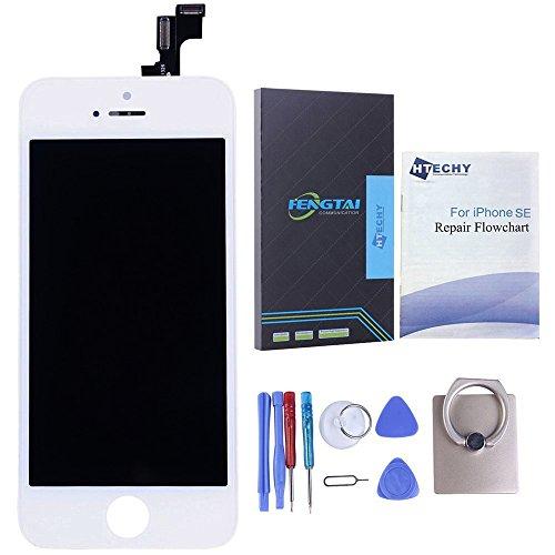 Htechy Kompatible mit iPhone SE Display Weiß Komplettes LCD Ersatz Retina Set Für Touchscreen Bildschirm Glas mit Kostenlose Werkzeug