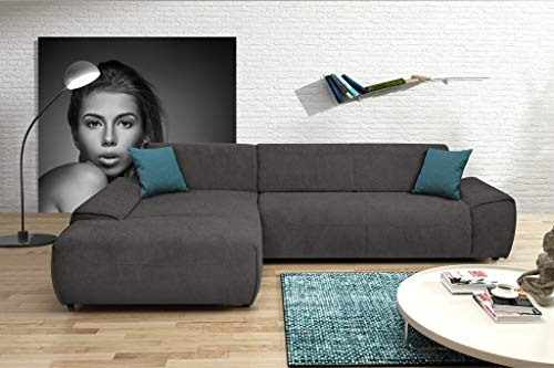 DOMO collection Frenzy Ecksofa, moderne L-Form Eckcouch, Couch in Webstoff, schlamm, 306x195x77 cm