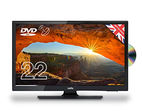 Cello 22' C22230FT2S2 12 Volt LED TV/DVD Freeview HD and Satellite Tuner Made In The UK, Black