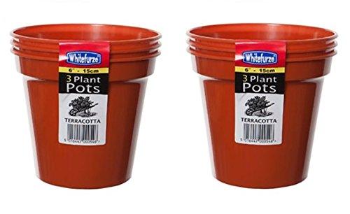 2 x Pack Of 3 Large 15cm 6' Round Seed Plant Pots Terracotta Colour Plastic Pots