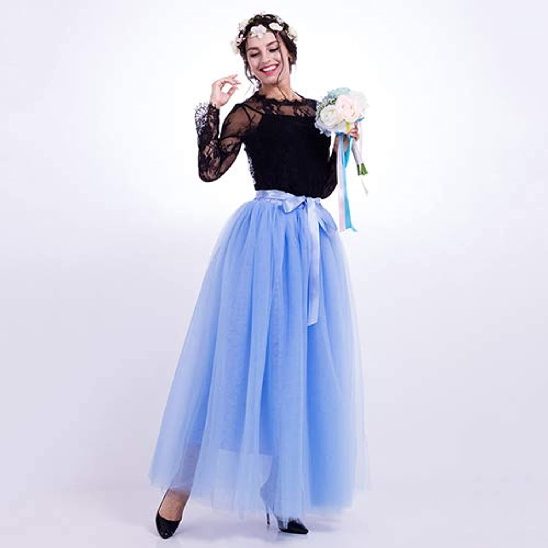 WHFDBZQ 7 Layers Long Skirts Summer Tulle Skirt Ball Gown Elastic Waist Pleated Women Fluffy Tutu Skirt