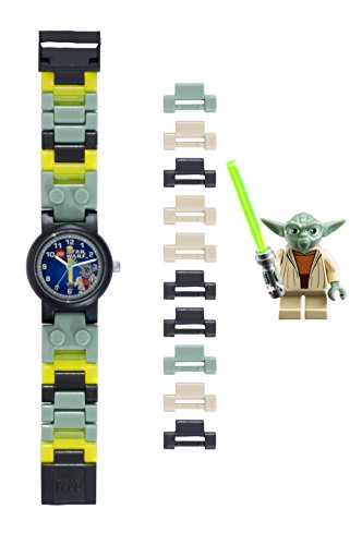LEGO Star Wars 8020295 Yoda Kinder-Armbanduhr mit Minifigur und Gliederarmband zum Zusammenbauen , grün/grau , Kunststoff , Gehäusedurchmesser 25 mm , analoge Quarzuhr , Junge/ Mädchen , offiziell