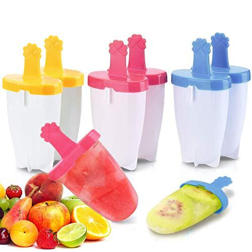 Eisformen, Eisförmchen Mit Stiel 6 Popsicle Formen Set,Stieleisformen Eisform Silikon FüR Kinder, Baby, Erwachsene Mini KüHlschrank Eis Am Stiel Formen